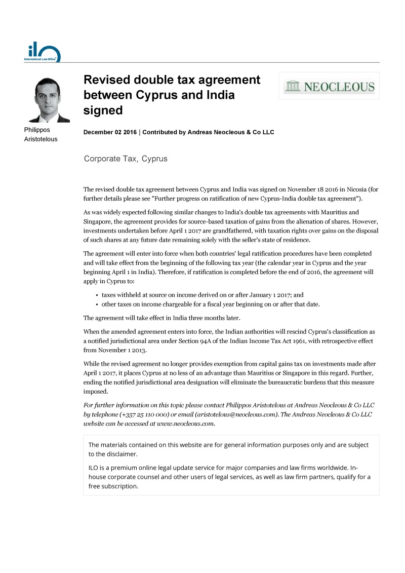 Revised Double Tax Agreement Between Cyprus And India Signed