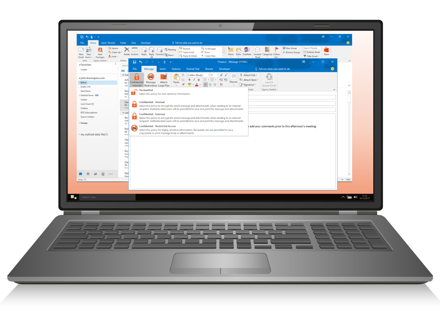 Egress Switch products are fully integrated with Microsoft Office