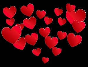 selection of red hearts on black background