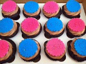 baby shower cupcakes with pink and blue toppings