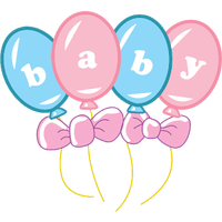 Four balloons in pink and blue with the letters baby on each balloon