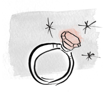 drawing of an engagement ring