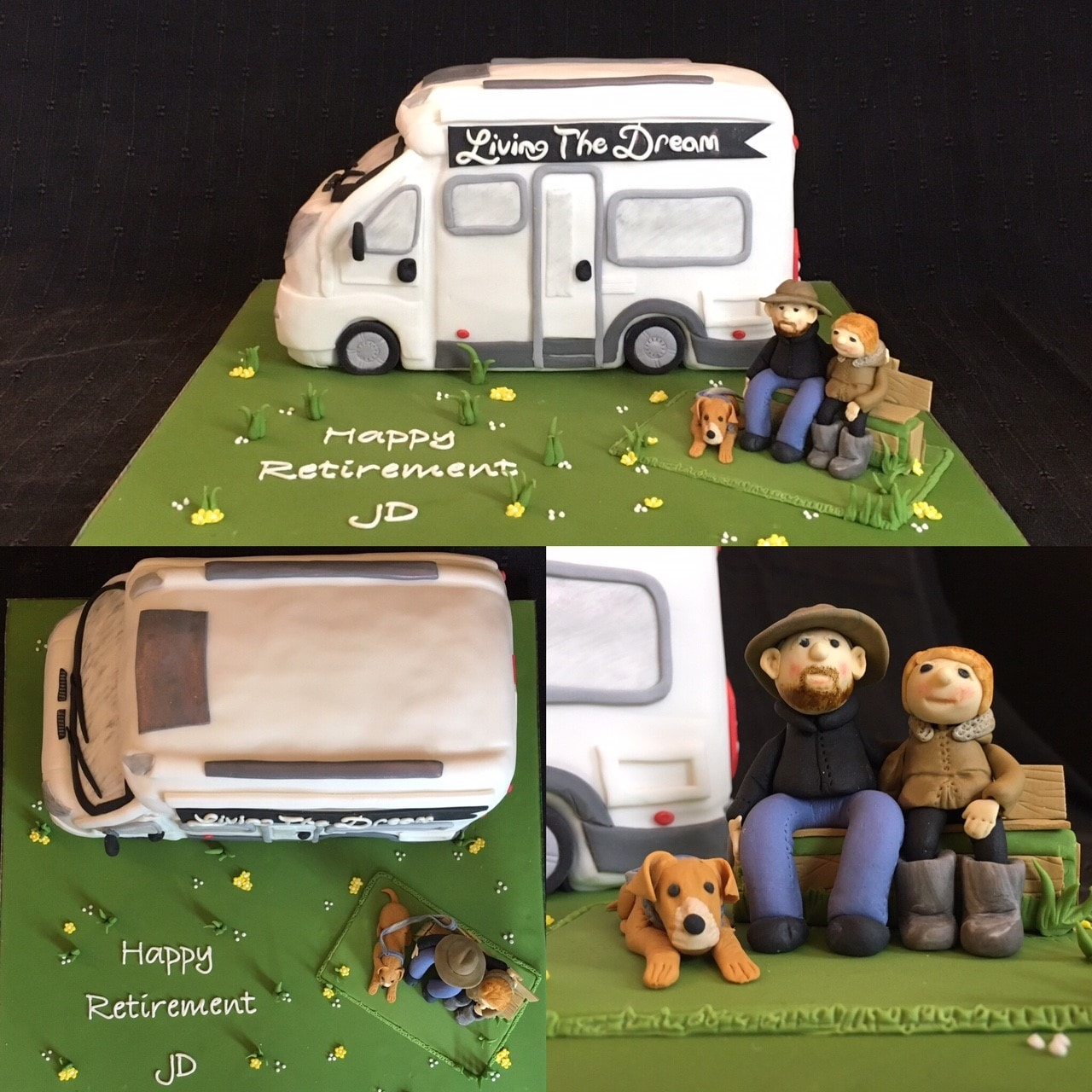 Retirement cake with campervan cake and 2 sugarcrafted figures with dog sitting next to it, with Happy retirement on the board