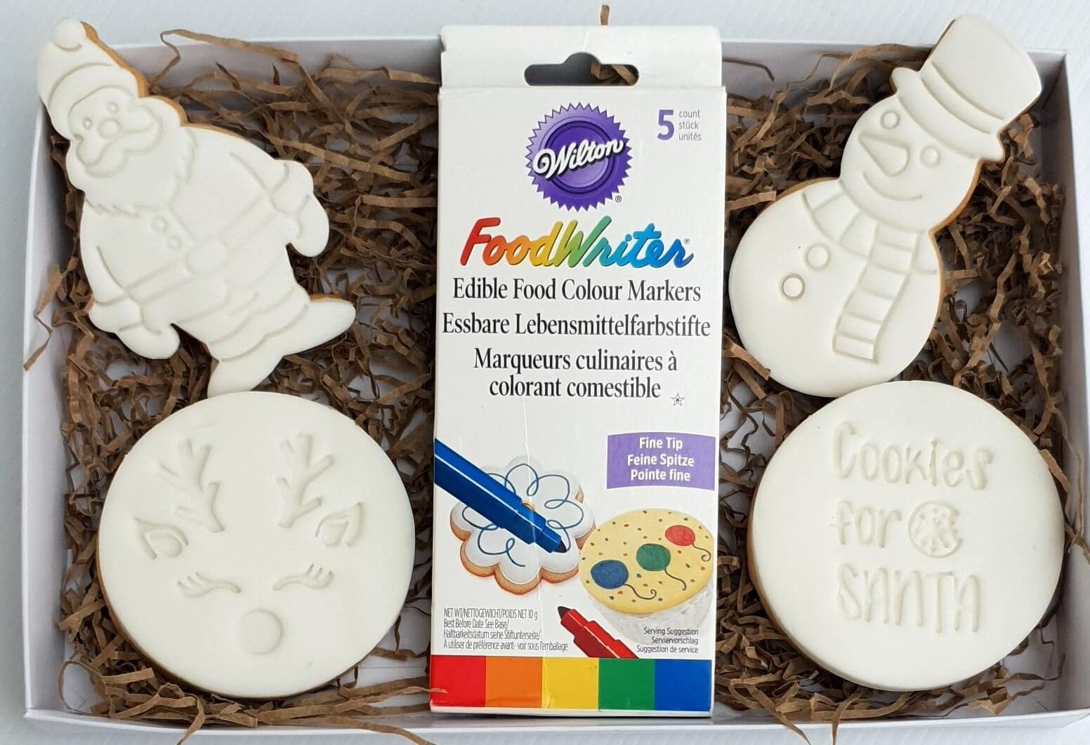 christmas cookies to colour in with edibles pens