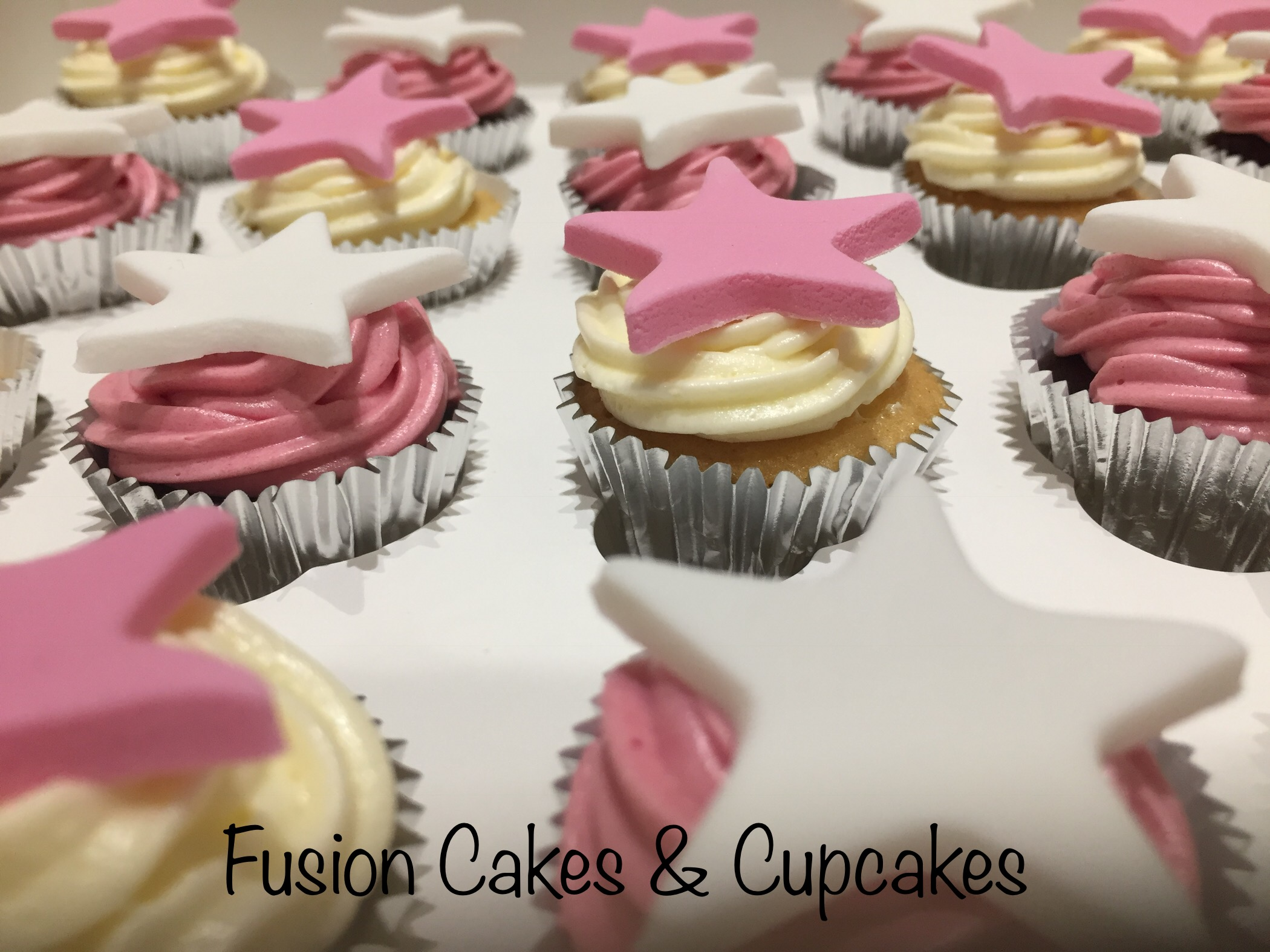 selection of cupcakes with stars on the top