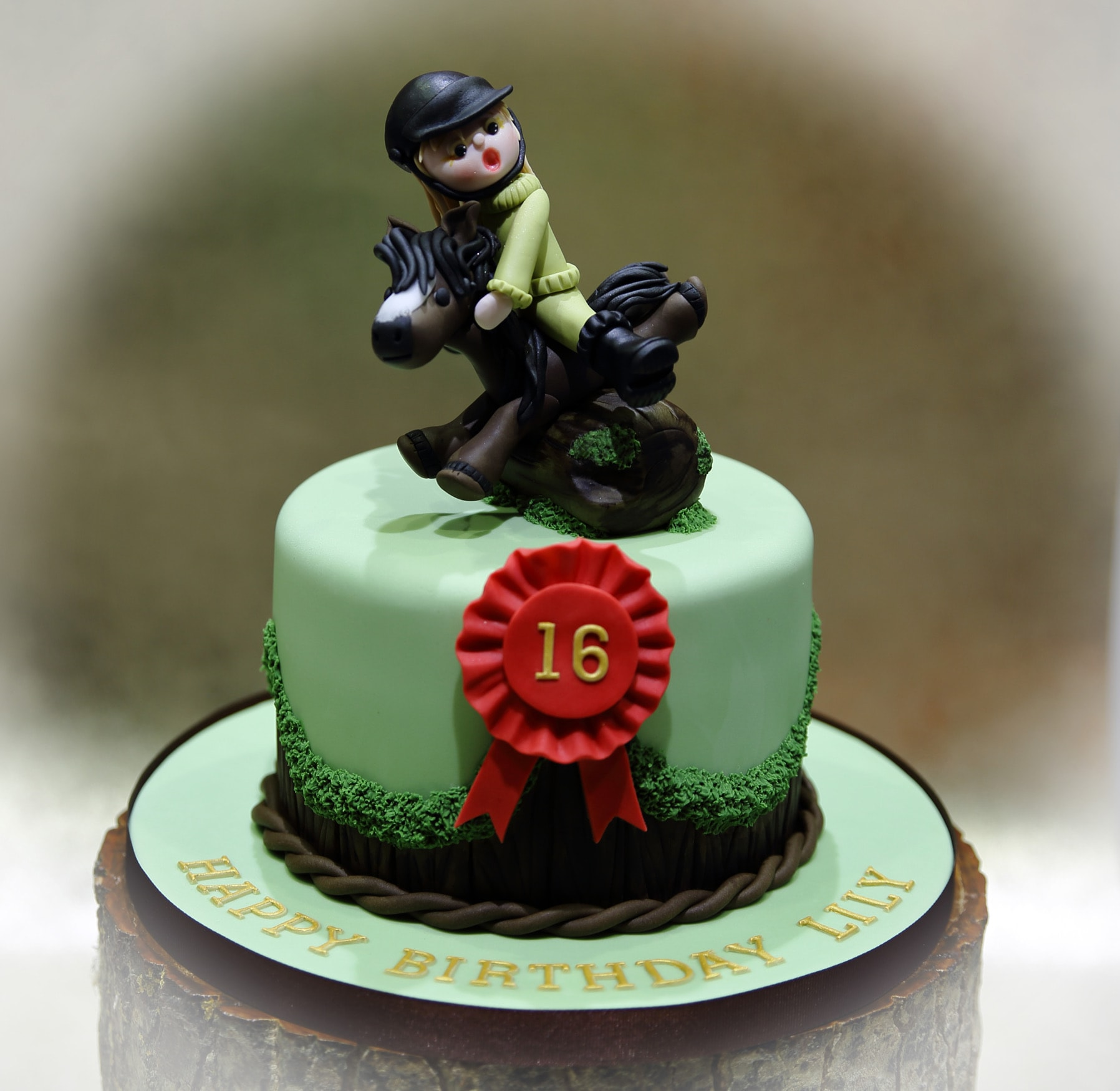 birthday cake with girl on a horse jumping over a fence