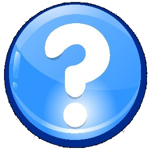question mark in a blue circle