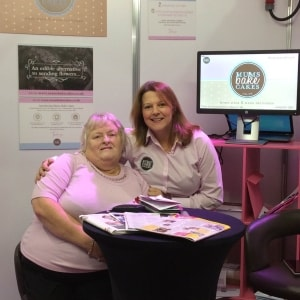 founder Paula with her sister Sheila on the exhibition stand at Cake and Bake show Manchester