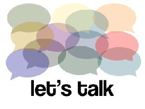 lots of speech bubbles with Lets talk on top