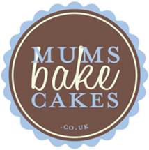 Circular Logo of Mums Bake Cakes with brown background and blue and beige writing