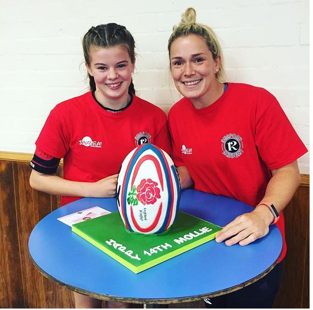 England rugby ball cake with Rachael Burford from England ladies team RFU