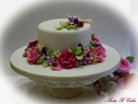 Floral Occasion Cake -fruit cake and flowers