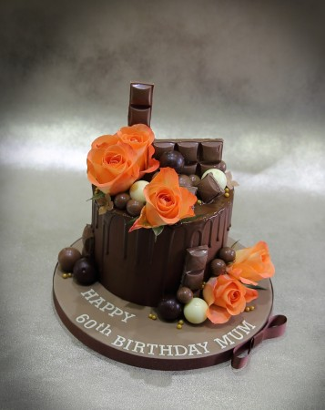 Chocolate Drip Cake with fresh flowers