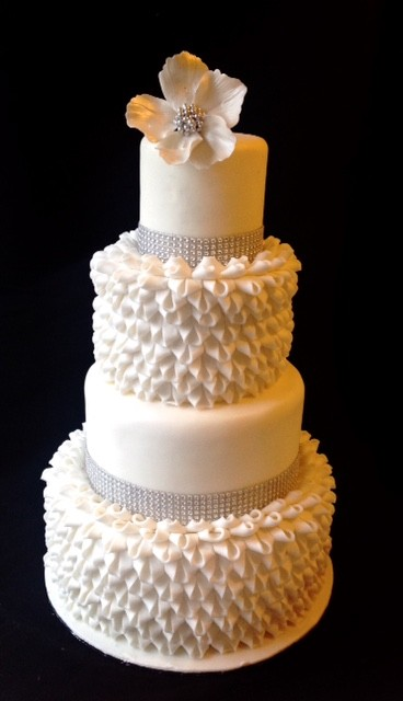 Ruffle Loop Tiered Wedding Cake