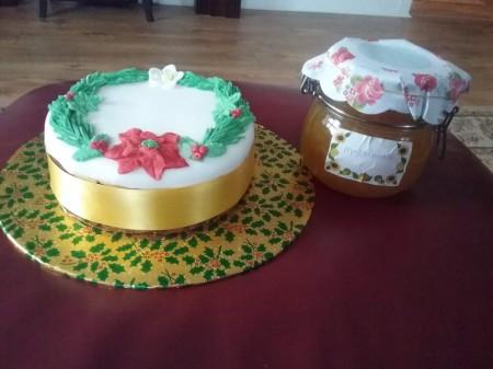 Christmas cake with jar of home made marmlade