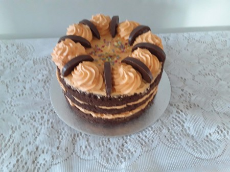 Chocolate cake with orange  butter cream
