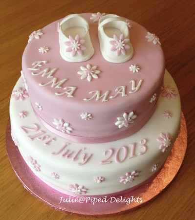 2 Tier Baby Shoes Christening Cake
