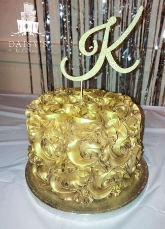 Gold chocolate rosette cake