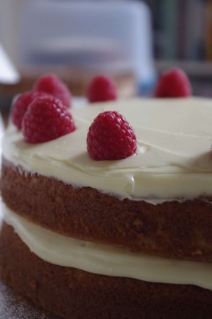 Gluten-free white chocolate and raspberry cake