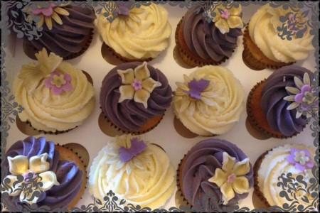 Purple, Cream & Gold Vanilla Flavoured Cupcakes