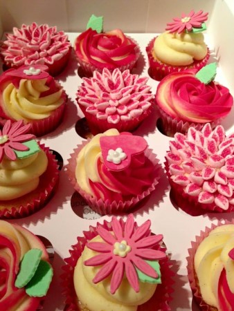 Yellow and Pink Vanilla Flavoured Flower Cupcakes