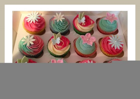 Pink, Yellow & Blue Vanilla Flavoured Flower Cupcakes