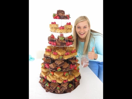 Brownie and flapjack tower