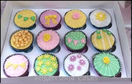 Decorated Cupcakes- bunting and flowers