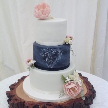 Chalkboard style wedding cake