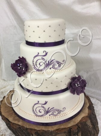 A 1 Tier lactose and Egg free Diamond pattern Eggfree and lactose free Wedding Cake