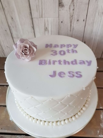 Birthday cake single rose