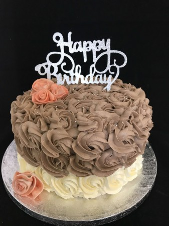 Chocolate Cake- Ruffles/Roses WITH TOPPER