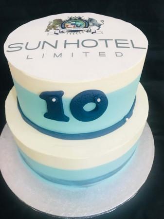 Corporate 2 Tier Cake Chocolate and Vanilla