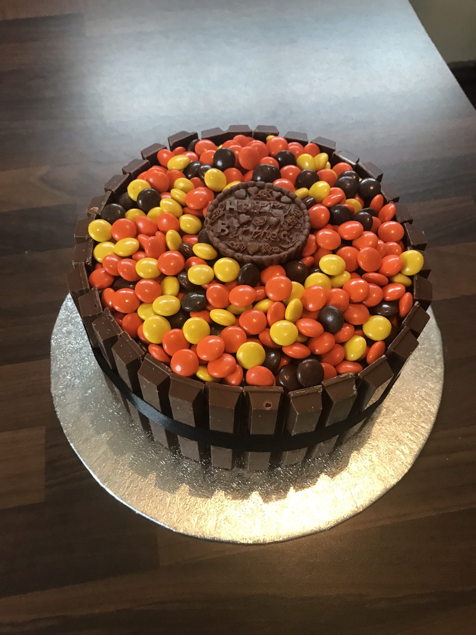 Chocolate birthday cake loaded with Reece's chocolate pieces