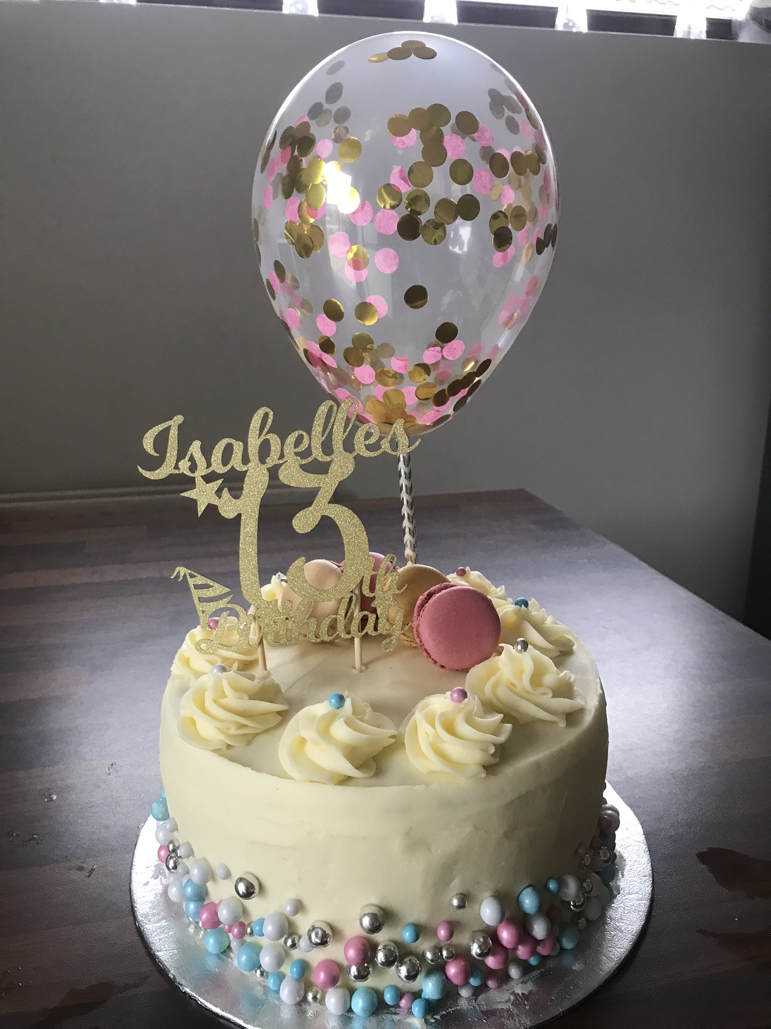 Prime Birthday Cake With A Confetti Balloon Topper Cake Appeal Personalised Birthday Cards Veneteletsinfo
