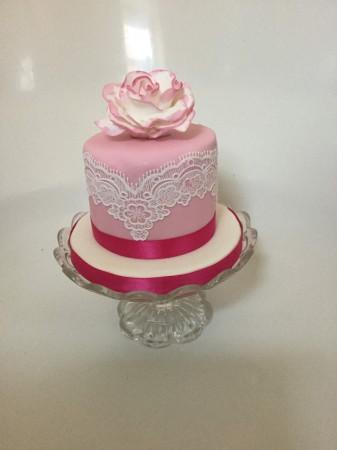 """6"""" Vintage Rose and Lace  Celebration Cake - Chocolate Cake."""