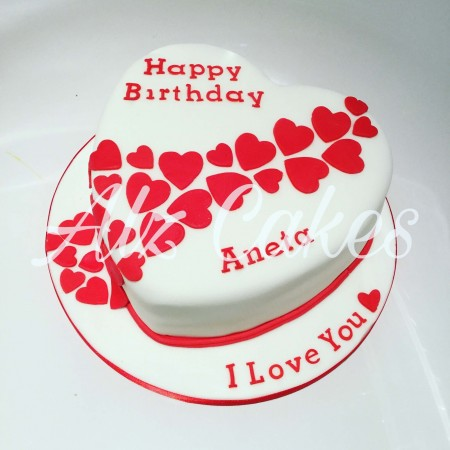 "8"" Chocolate Sponge Heart Cake - personalised for you"