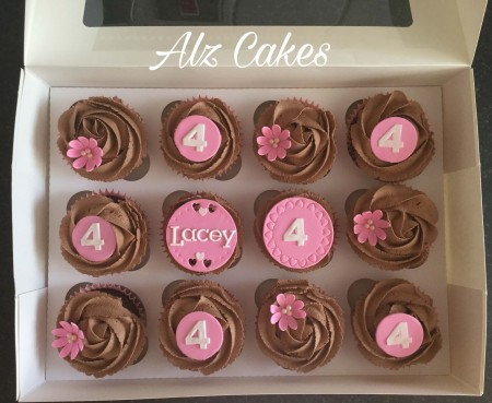 Birthday Cupcakes, personalised with name and age.
