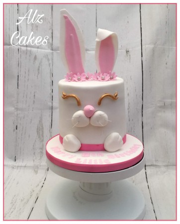 "6"" round tall bunny ears celebration cake."