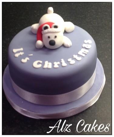 "3D Christmas Polar Bear 6"" Vanilla Sponge Cake."