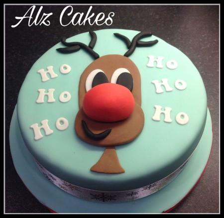 "3D Rudolph - Chocolate  Sponge Cake - 8"" round."