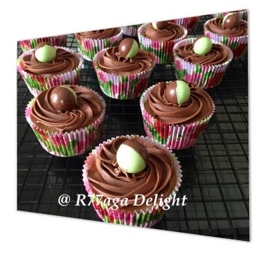 Caramel cupcakes topped with chocolate ganach