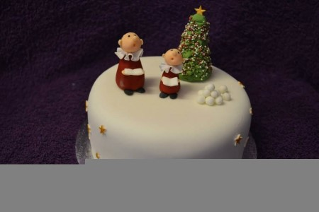 christmas cake with characters