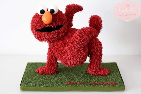 3D Elmo Cake + Edible Grass Cake