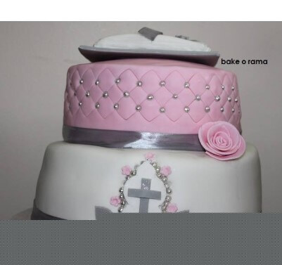 Christening Cake with Bible Topper