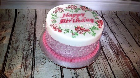 Lace Stenciled cake