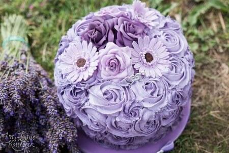 Purple Buttercream Swirl and Flowers