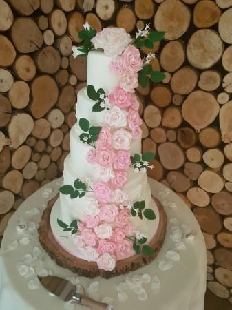 5 Tier Rose Wedding cake