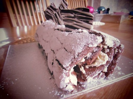 Rich chocolate and liqueur roulade
