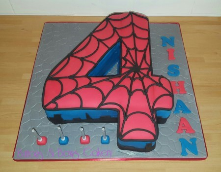 Spiderman '4' Cake